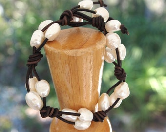 Leather and Freshwater Pearl Woven Bracelet
