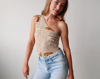 Amazing 90s One Shoulder Newspaper Print Tank!