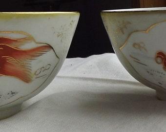 Two Chinese Porcelain Goldfish Rice Bowls