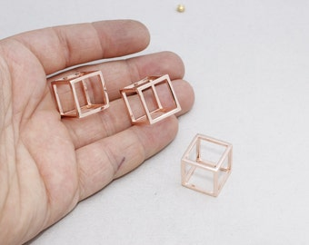 925 Sterling Silver Cube Pendant, Rose Gold Cube Necklace, 17mm  Open Cube Beads, KNG11