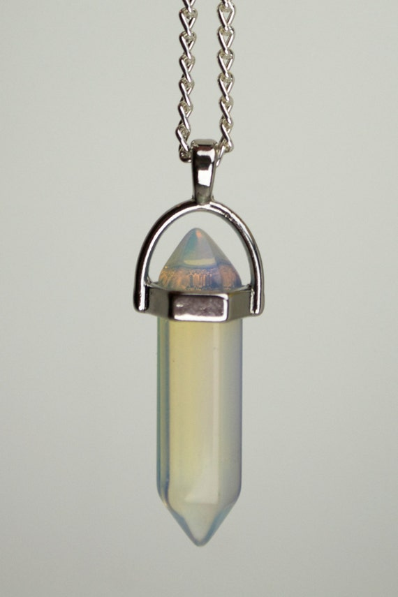 White Opal Crystal Healing Point Pendant Statement Necklace
