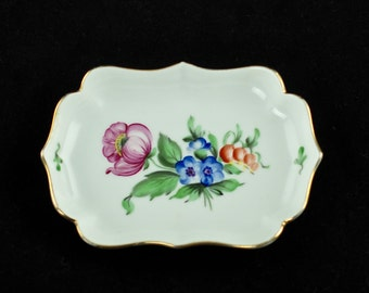 Vintage Herend Hand Painted Dish with Scalloped Edges