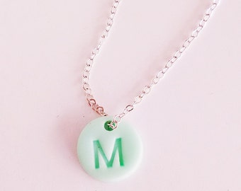 Personalized kids necklace, letter necklace, mint necklace, little girls necklace, silver initial necklace,children jewelry, stamped jewelry