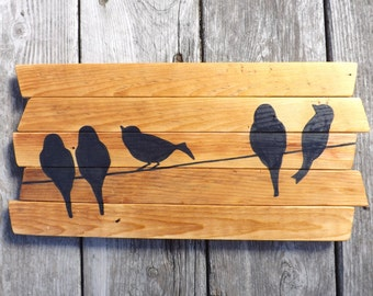 Rustic Wall Art - Birds on a wire - Hand-painted Reclaimed wood wall art