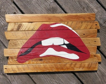 Rocky Horror Picture Show lips painted wood sign, Tim Curry, Cult Classic, Dr, Frankenfurter, Trans, Wall Art