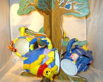 Vintage Disney Winnie The Pooh 4 CERAMIC MUGS TREE Tigger, Piglet, Eeeyore too!
