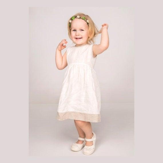 girls linen dress white baptism dress linen summer dress. Black Bedroom Furniture Sets. Home Design Ideas