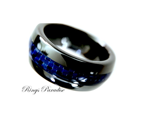 Black ceramic ring mens ceramic wedding band by ringsparadise for Black ceramic wedding ring