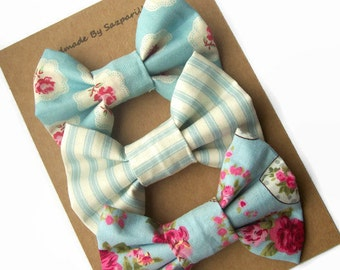 Blue Hair Bow Set, Gifts for Girls, Party  Favours for Kids, Alligator Hair Clips, Girls Accessories