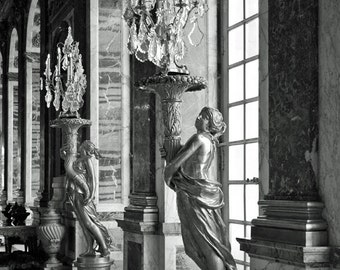 Versailles, Paris Photography, Chandeliers, Romantic Wall Art, Hall of Mirrors, Paris Decor, Black and White, Europe Palace, Travel Print