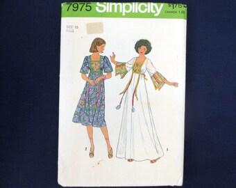 1977 Ribbon Trim Pullover Caftan or Dress Uncut Vintage Pattern, Simplicity 7975, Size 10, Bust 32