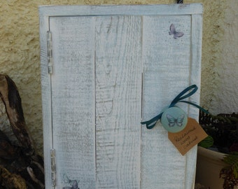 Shabby Chic Reclaimed wood Hand Painted Duck Egg and White Butterfly Cabinet