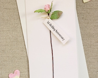 1st Wedding Anniversary Card - Paper Rosebud