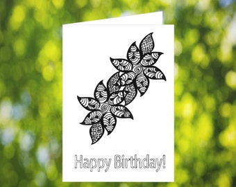 Flower Zentangle Card: Printable Birthday Card - Coloring Birthday Card Download - Flower Birthday Card - Flower Zentangle Birthday Card