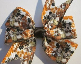 Thanksgiving MIckey and Friends Hair Bow, Thanksgiving Hair Bow, THanksgiving Bow, THanksgiving Mickey Mouse Hair Bow, Mickey Mouse, Minnie