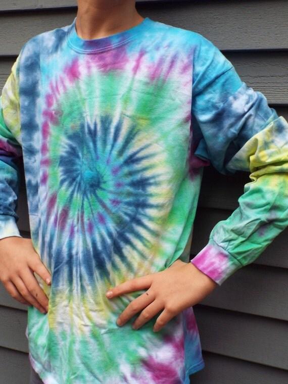Custom long sleeve tie dye swirl tie dye shirt large tie dye for Custom t shirts tie dye