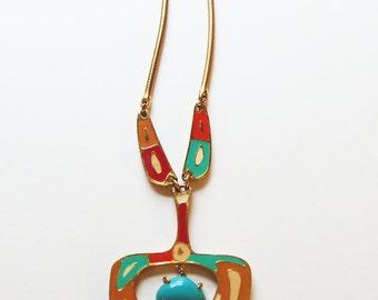 Enameled Boho Necklace Vintage 1980