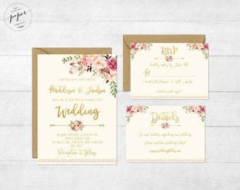 Floral Wedding Invitation Printable Wedding Invitation Suite Rustic Wedding Invite Boho Wedding Invite Peonies Wedding Invite Boho II Set