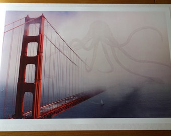 Cthulhu & Golden gate bridge Limited Edition Art Print Signed and Numbered