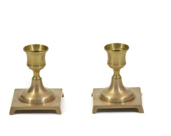 "Candlesticks Brass 3"" Inch Hollywood Regency Elegant Candle Centerpiece Holiday Table Polished Brass Sabbath Shabbat Candlesticks Farmhouse"