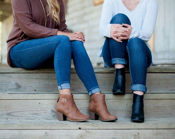 BOOT SALE! Brown and black ladies ankle boots with custom monogram initials perfect for the fall!