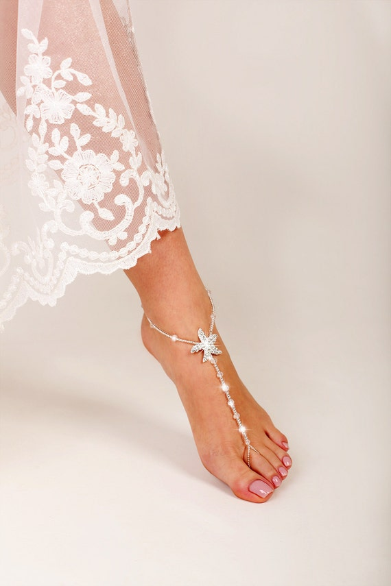 starfish beaded barefoot sandals anklet wedding