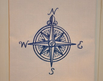 "Embroidered "" Compass Rose- Nautical"" Kitchen Towel, Navy on Natural Flat-Weave Kitchen Towel"