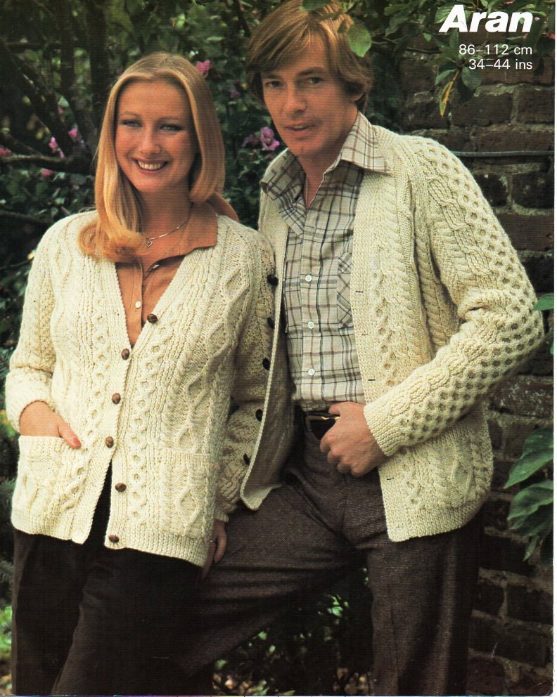 Free Cable Knit Afghan Pattern : womens mens aran cardigan knitting pattern PDF ladies aran