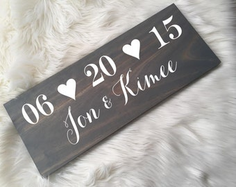 Rustic Wedding Wood Sign. Personalized with Names & Wedding Date. Pick your stain color.