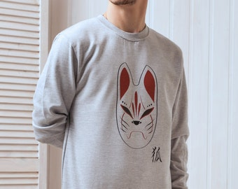 Japanese Sweatshirt – Kitsune Fox Mask T Shirt – Kitsunemen Kitsune Men Inari Japan Anime Manga Kawaii Printed Shirt Jumper Long Sleeve