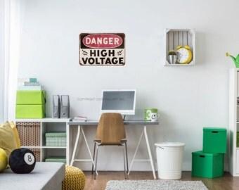 Danger Sign - Caution Sign - High Voltage Decal - Old Signs - Vintage Decals - Vintage Signs - Teen Boy Decor - Teen Boy Room - Teen Boy Art