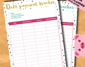 Debt payment tracker, Budget planner inserts, financial binder, expenses - A4, A5, US letter inserts for filofax, kikki.K - PRINTABLE PDF