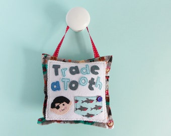 Tooth Fairy Pillow - pirate tooth fairy cushion - pirate gift for child - kids room decor - tooth fairy cushion - gift for pirate fan