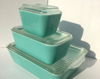 Pyrex Turquoise Refrigerator Dish Set, 501, 502 & 503 with New Style Lids, Aqua, Teal, Robins Egg Blue, Mid Century, Vintage Kitchen