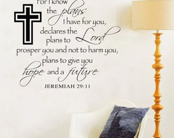 Jeremiah 29 11 Wall Decal Etsy