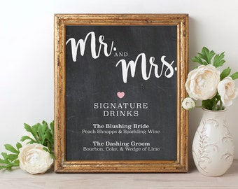 Signature drink sign wedding signature drink sign his and signature drink sign his her signature drink sign chalkboard wedding drink sign junglespirit Gallery