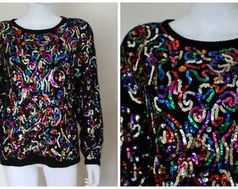 Vintage 1980's Black Multi-Colored Sequin Gem Silk Angora Wool Flashy Ugly Sweater Party Holiday Christmas By The Glory B Size Small