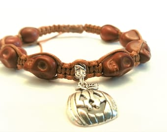 "Single Row Skull Bead Shamballa Bracelet with ""Jack-o'-lantern"" Charm, Brown Skull bead bracelets, Halloween Skull Shamballa Bracelets"