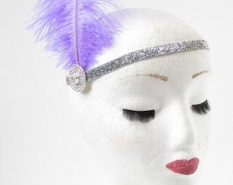Lilac Purple Ostrich Feather Headband Flapper 1920s Great Gatsby Vintage Headpiece Silver Z01