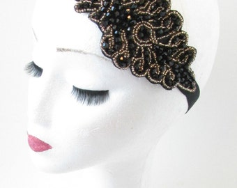 Black and Gold Vintage 1920s Flapper Headpiece Headband Beaded Great Gatsby O71