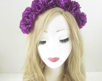 Purple Carnation Flower Headband Festival Boho Garland Hair Crown Hair Band 154