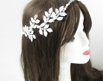 White Silver Pearl Leaf Headpiece Bridal Headband Hair Crown Grecian Baroque 489