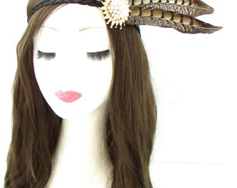 Red Indian Native American Feather Headdress Headband Brown Gold Headpiece 526