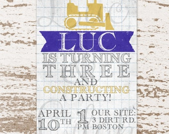 Constructing a Party!  Construction Party / Bulldozer / Blueprint / Tractor Party Invitation