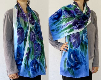 Silk scarf Hand Painted Blue Purple Green Satin Silk Shawl Wrap Handpainted Floral scarf silk painted Roses birthday gift for mother for her
