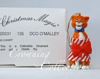 Disney Grolier Thomas O'Malley Ornament The Aristocats Christmas Magic in Box DCO O'Malley Vintage Cat Bow