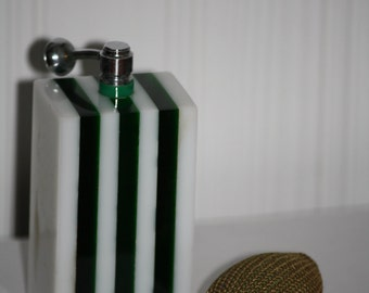 Unique White and Green Striped Lucite Perfume Bottle Atomizer