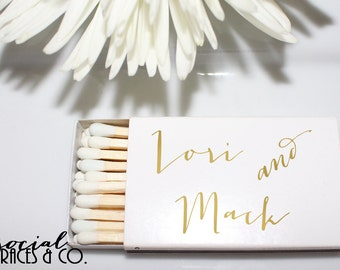 Bride and Groom Custom Metallic Foil Personalized Wedding Favors • White Matchboxes • Hot Stamped Foil from Social Graces & Company