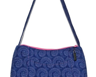 Shoulder Bag, Fabric Purse, Blue Handbag, Gift for Her, Tween Bag, Teen Purse, Purse for Girls, Blue and Pink Handbag