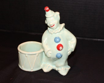 SALE Vintage 1950s Clown Planter, Art Pottery, No Markings, Seafoam Green Glaze, Clown with Drum Planter (P058)